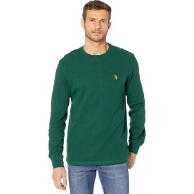ユーエスポロアッスン U.S. POLO ASSN. メンズ 長袖Tシャツ トップス Long Sleeve Crew Neck Solid Thermal Shirt Forest Peak