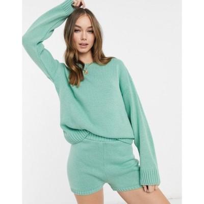 エイソス レディース ニット&セーター アウター ASOS DESIGN two-piece crew neck sweater with long sleeves in light green Light green