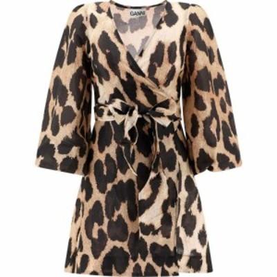 ガニー Ganni レディース ワンピース ワンピース・ドレス Animal Print Linen Dress Beige