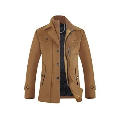 コート メンズ ウール 中綿 ショートコート 暖かい 冬 衿着脱可 メルトン 1808キャメル XXL(日本サイズXXXLに相当)