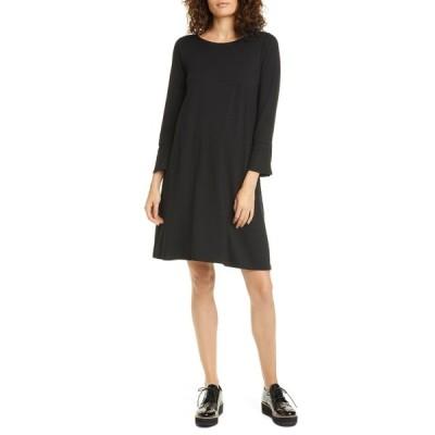 エイリーンフィッシャー レディース ワンピース トップス Bell Cuff Tencel Lyocell Blend Jersey Dress BLACK