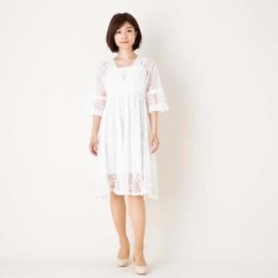 マタニティドレス ワンピース 膝丈 ひざ丈 五分袖  半袖 カジュアル お出掛け 白Lサイズ