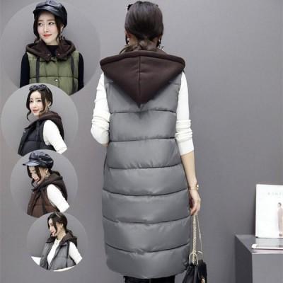 女の子 中長項 中綿ベスト 個性的  フード付き ファッション 防寒 秋冬 細身のシルエット 魅せてくれる ルームウエア 原宿 通勤