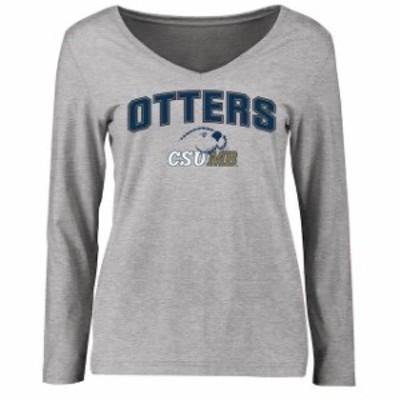 Fanatics Branded ファナティクス ブランド スポーツ用品  Cal State Monterey Bay Otters Womens Ash Proud Mascot Long Sleeve T-Shirt