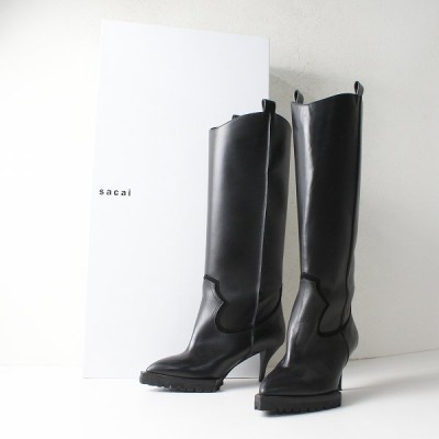 美品 新作 定価13.7万 2020AW sacai サカイ 20-05365 Leather Long Boots 37/ブラック レザーロングブーツ 2400012097001-.
