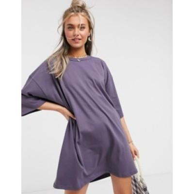 エイソス レディース ワンピース トップス ASOS DESIGN oversized t-shirt dress in gray Grey