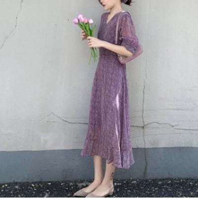 Vネック パフスリーブ シフォン 紫 ワンピース 上品 ミモレ丈 裾フリル