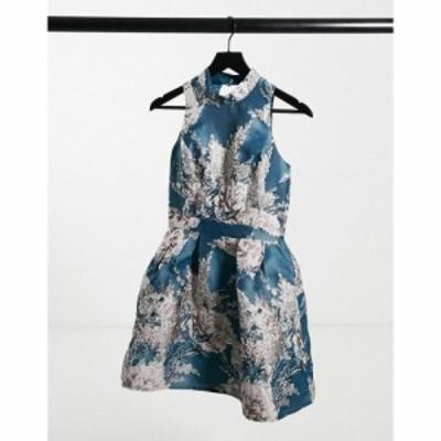 チチロンドン Chi Chi London レディース ワンピース ミニ丈 ワンピース・ドレス High Neck Jacquard Mini Prom Dress In Teal Floral