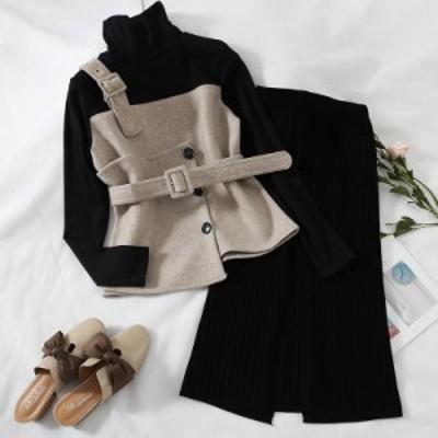 ビスチェ風トップス リブニットスカート セットアップ ハイネック ウール ミモレ丈 aya1082