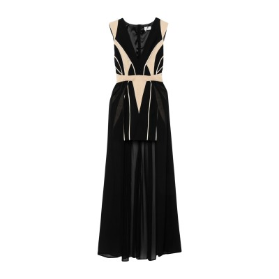 ELISABETTA FRANCHI ロングワンピース&ドレス ブラック 38 ナイロン 84% / ポリウレタン 16% / コットン ロングワン