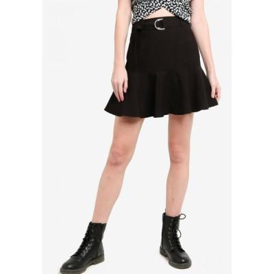 サムシングボロウド Something Borrowed レディース ミニスカート スカート Fluted Hem Belted Skirt Black