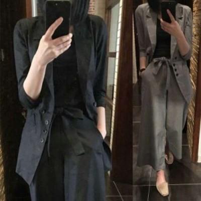 韓国 ファッション レディース セットアップ パンツスーツ テーラードジャケット テーラードパンツ  ワイドパンツ ブラック グレー ゆっ