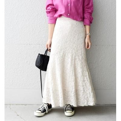 【シップス/SHIPS】 レースフレアジャージースカート