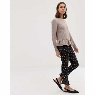 エイソス ASOS DESIGN レディース スキニー・スリム ボトムス・パンツ Asos Design Velvet Ruffle Skinny Trouser In Ditsy Print マルチ