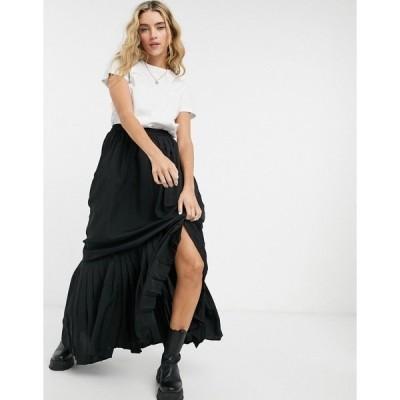 ベローナ レディース スカート ボトムス Verona pleated maxi skirt Black chiffon