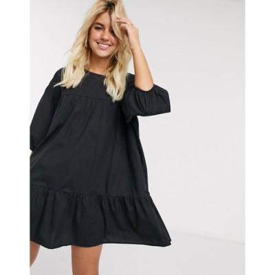 プルアンドベアー レディース ワンピース トップス Pull&Bear smock mini dress in black