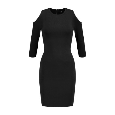 LINE ミニワンピース&ドレス ブラック L レーヨン 64% / ナイロン 36% ミニワンピース&ドレス