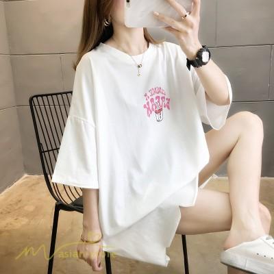 トップス Tシャツ レディース 7分袖 着痩せ ワイドTシャツ 人気 着回し 丸首 ゆったり ロング丈 2021新作 カジュアル プリント 大きいサイズ 韓国風 アウトドア
