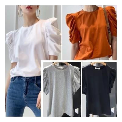レディース フリルシャツ 白 バブルスリーブ カジュアル シンプル ラウンドネック Tシャツ 可愛い きれいめ