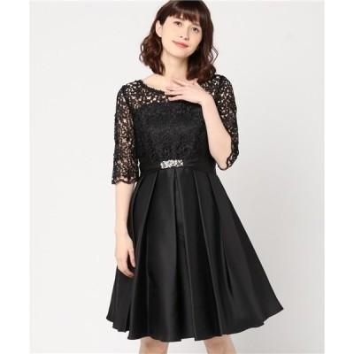 ドレス コードレース切り替えデコルテシアータックフレアーワンピースドレス ビジュー使いサッシュベルト付き