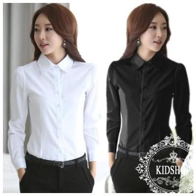 シャツ レディース ホワイトワイシャツ オフィス 長袖 無地 ビジネス 制服 事務服 女性 通勤 OL フォーマル 大きいサイズ