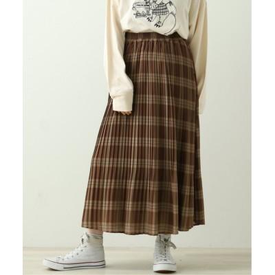 【ダブルネーム】 オリジナルチェックプリーツスカート レディース ブラウン FREE DOUBLE NAME