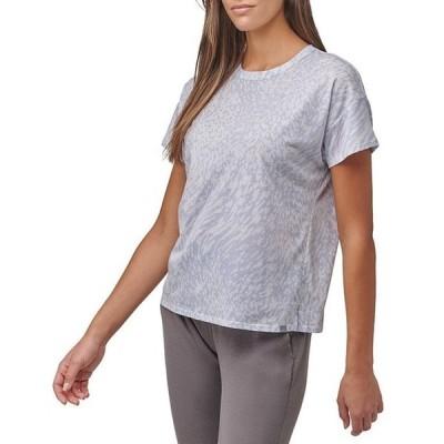 マークニューヨーク レディース Tシャツ トップス Boxy Short Sleeve Crew Neck Animal Printed Jersey Top