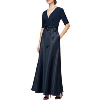アレックスイブニングス レディース ワンピース トップス Petite Size V-Neck Elbow Sleeve Tie Waist Satin Ball Gown Navy