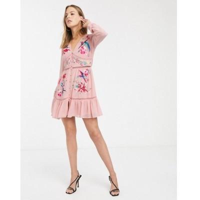 エイソス レディース ワンピース トップス ASOS DESIGN embroidered skater mini dress with lace trims and pephem