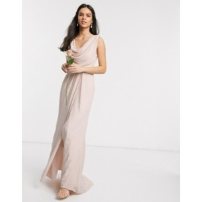 エイソス レディース ワンピース トップス ASOS DESIGN Bridesmaid cowl front maxi dress with button back detail Soft blush