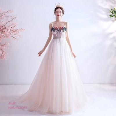 ウエディングドレス ドレス aライン 花 レース 花嫁 パーティードレス ロングドレス 二次会 旅行 ブライダル 結婚式 イブニングドレス 撮影 披露宴