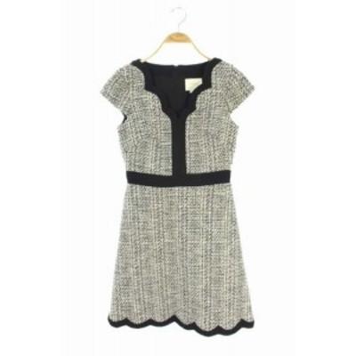 【中古】KATE SPADE scallop tweedドレス ワンピース 膝丈 半袖 ツイード 0 白 黒 NJMU8377 /MY ■OS■ レディース