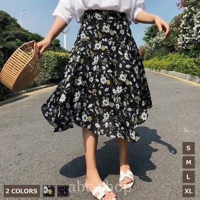シフォンスカートレディースプリーツ花柄不規則ハイウェストフェミニンウエストゴムロングスカート薄手ボリュームオシャレキレイ