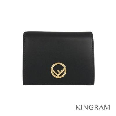 フェンディ 2つ折り財布 エフイズロゴ 8M0387  ブラック×ゴールド レザー レディース財布 fhb【中古】