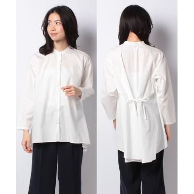 【マーコート】 band collar flare shirt レディース OFFWHITE f MARcourt