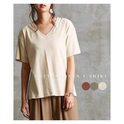 Tシャツ カットソー レディース コットン リネン ゆったり Vネック M〜L ニッセン