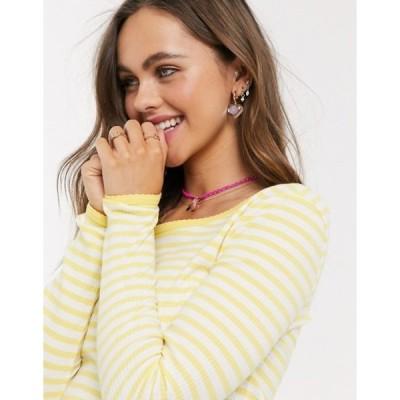 ピーシーズ レディース Tシャツ トップス Pieces Nanja long sleeve stripe t-shirt