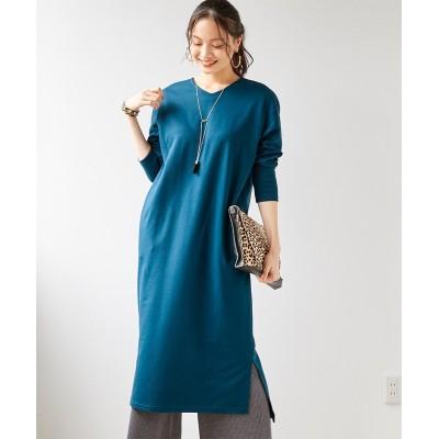 大きいサイズ ゆるシルエットサイドスリットスウェットロング丈ワンピース ,スマイルランド, ワンピース, plus size dress
