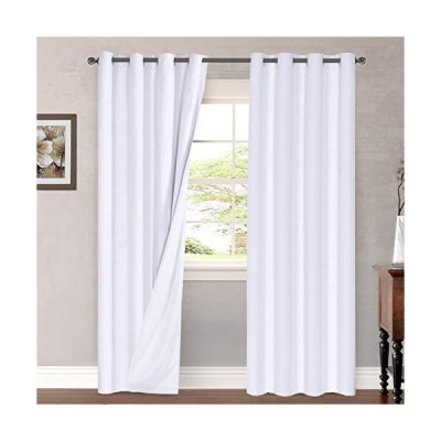 Linen Blackout Curtains 96 Inches Long 100% Total Blackout Heavy-Duty Draperies for Bedroom Living Room Thermal Insulated Textured Functiona