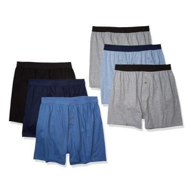 ヘインズ メンズ ボクサーパンツ アンダーウェア Hanes Men's Knit Boxers, 6 Pack