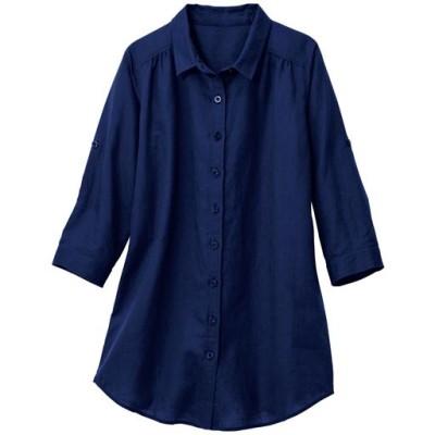 麻混ロールアップシャツ(7分袖)【ぽっちゃりさんサイズ】/ネイビー/L