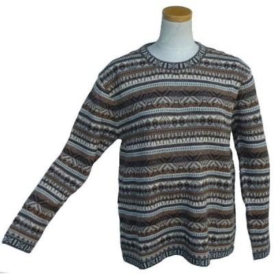 ALC-T010 アルパカ100% 薄手 男性 セーター 丸首 幾何学柄 暖かい 綺麗 ペルー
