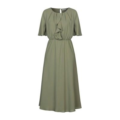 PAOLA PRATA 7分丈ワンピース・ドレス ミリタリーグリーン S レーヨン 52% / ポリエステル 48% 7分丈ワンピース・ドレス