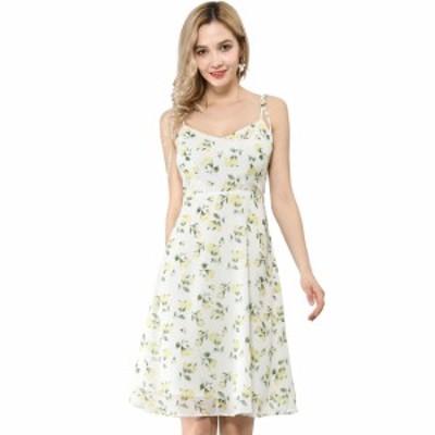 Allegra K 花柄 ドレス ワンピース ノースリープ キャミソール 裾フレア 膝丈 夏 レディース ホワイト S