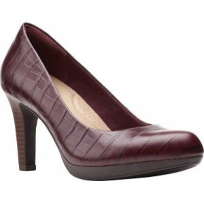 クラークス レディース ヒール シューズ Adriel Viola Pump Burgundy Croco Leather