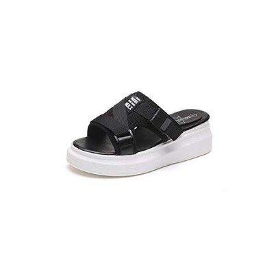 [DEBLE] レディース 厚底 サンダル 軽量 歩きやすい コンフォート シューズ スポーツサンダル ストラップ 靴 スニーカー (235 ブラック