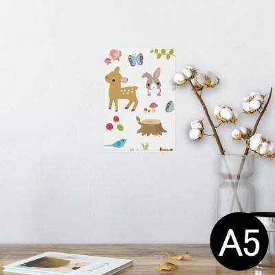 ポスター ウォールステッカー シール式 148×210mm A5 写真 壁 インテリア おしゃれ wall sticker poster 動物 イラスト キャラクター 005809