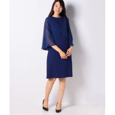 【ピエール・カルダン】 カラミ織り×シフォン ストレートラインドレス レディース ブルー 40 pierre cardin