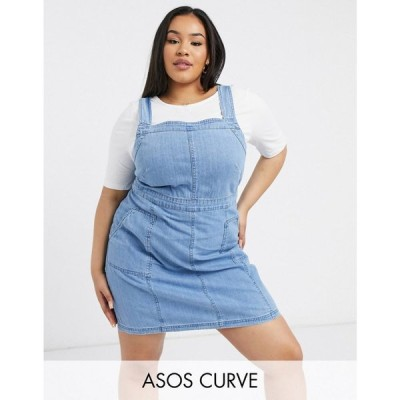 エイソス ASOS Curve レディース ワンピース ワンピース・ドレス ASOS DESIGN Curve soft denim pinafore in midwash blue ウォッシュブルー