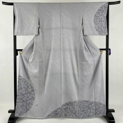 訪問着 美品 名品 萩 草花 刺繍 金糸 薄紫 袷 身丈165.5cm 裄丈65cm M 正絹 中古